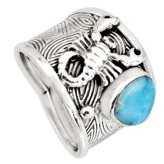 925 silver 5.62cts natural blue larimar fancy scorpion charm ring size 7 r1284