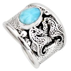 2.01cts natural blue larimar 925 sterling silver seahorse ring size 6.5 r1285