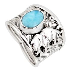2.59cts natural blue larimar 925 sterling silver elephant ring size 7 r1286