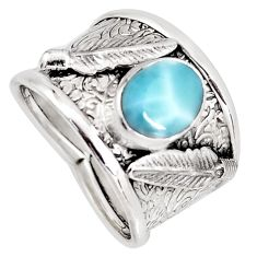 3.24cts natural blue larimar 925 sterling silver feather ring size 8.5 r1287