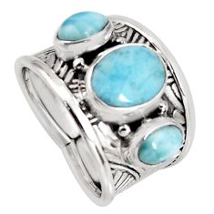 6.53cts natural blue larimar 925 sterling silver ring jewelry size 8 r1288