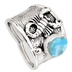 2.90cts natural blue larimar 925 silver scorpion charm ring size 8 r1289