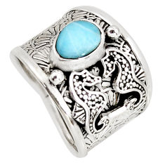 1.94cts natural blue larimar 925 sterling silver seahorse ring size 7 r1290