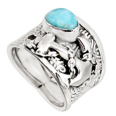 2.11cts natural blue larimar 925 silver anchor charm ring jewelry size 6.5 r1293