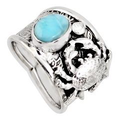 2.24cts natural blue larimar 925 sterling silver crab ring size 7.5 r1294