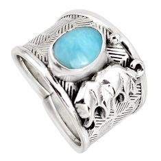 2.59cts natural blue larimar 925 sterling silver elephant ring size 8 r1299