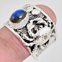 2.11cts natural blue labradorite 925 sterling silver crab ring size 8 r1303