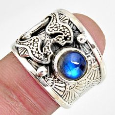 925 silver 2.32cts natural blue labradorite round seahorse ring size 6.5 r1304