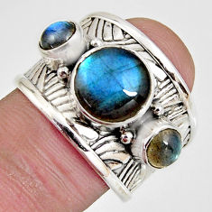 6.13cts natural blue labradorite 925 sterling silver ring jewelry size 7.5 r1308