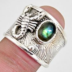925 silver 2.11cts natural blue labradorite scorpion charm ring size 7.5 r1309