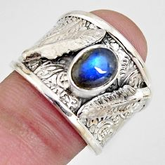1.88cts natural blue labradorite 925 silver feather ring jewelry size 7.5 r1312
