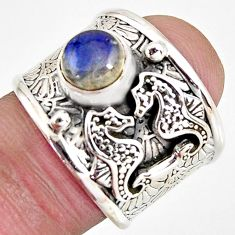 2.40cts natural blue labradorite 925 sterling silver seahorse ring size 7 r1316