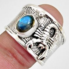 2.17cts natural blue labradorite 925 silver scorpion charm ring size 8 r1317