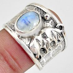 2.75cts natural rainbow moonstone 925 sterling silver elephant ring size 8 r1331