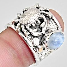 2.24cts natural rainbow moonstone 925 sterling silver crab ring size 7 r1335