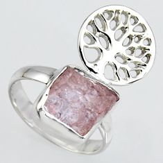 4.68cts natural morganite rough silver tree of life solitaire ring size 7 r1521