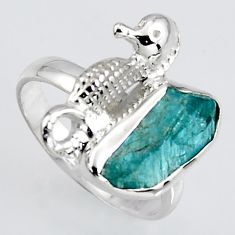 925 silver 4.64cts natural apatite rough seahorse solitaire ring size 7 r1533
