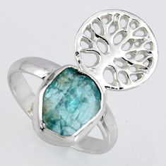 4.68cts natural apatite rough silver tree of life solitaire ring size 8 r1534