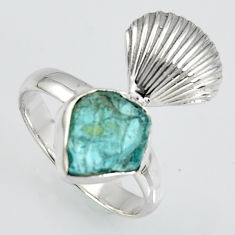 925 silver 4.68cts natural blue apatite rough fancy solitaire ring size 8 r1539