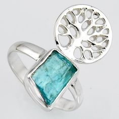 4.42cts natural apatite rough silver tree of life solitaire ring size 8 r1540