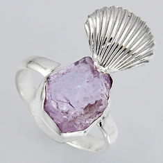 5.63cts natural pink kunzite rough 925 silver solitaire ring size 7 r1541