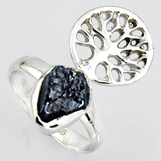4.67cts natural sapphire rough silver tree of life solitaire ring size 6 r1557