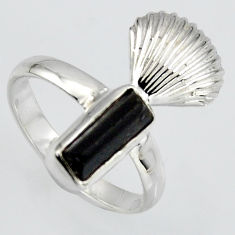 4.28cts natural black tourmaline rough 925 silver solitaire ring size 8 r1562