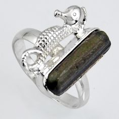 925 silver 4.69cts natural tourmaline rough seahorse solitaire ring size 8 r1569