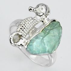 925 silver natural aqua aquamarine rough seahorse solitaire ring size 6 r1577