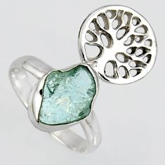 925 silver natural aquamarine rough tree of life solitaire ring size 7.5 r1579