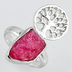 5.87cts natural ruby rough 925 silver tree of life solitaire ring size 7 r1583