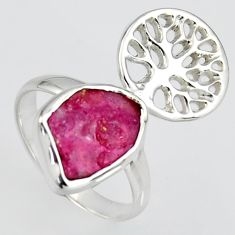 4.42cts natural pink ruby rough silver tree of life solitaire ring size 7 r1588