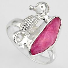 925 silver 4.42cts natural pink ruby rough seahorse solitaire ring size 7 r1589