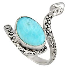 4.69cts natural blue larimar 925 sterling silver snake ring jewelry size 7 r1982