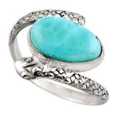 5.09cts natural blue larimar 925 sterling silver snake ring jewelry size 9 r1989