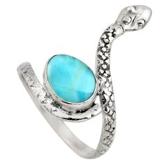 3.83cts natural blue larimar 925 sterling silver snake ring jewelry size 9 r1994