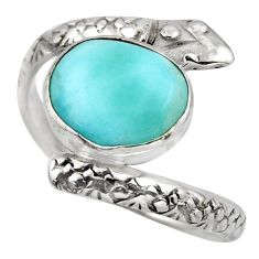 925 sterling silver 4.93cts natural blue larimar snake ring size 8.5 r1996