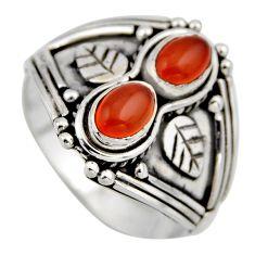 925 silver 2.19cts natural orange cornelian (carnelian) ring size 8.5 r2007