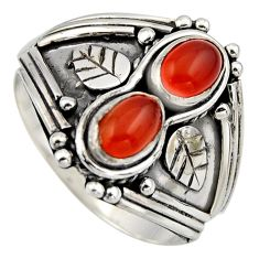 2.26cts natural orange cornelian (carnelian) 925 silver ring size 9 r2008