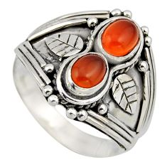 2.19cts natural orange cornelian (carnelian) 925 silver ring size 8 r2009
