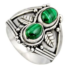 925 silver 3.24cts natural green malachite (pilot's stone) ring size 9 r2013
