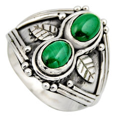 3.13cts natural green malachite (pilot's stone) 925 silver ring size 7.5 r2015