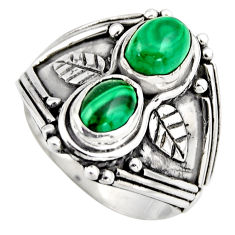 925 silver 3.13cts natural green malachite (pilot's stone) ring size 7 r2016