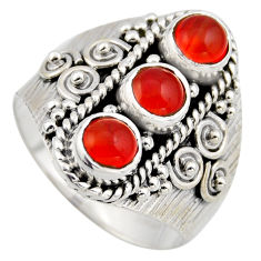 925 silver 2.71cts natural orange cornelian (carnelian) round ring size 9 r2023