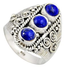 925 sterling silver 2.94cts natural blue lapis lazuli ring jewelry size 8 r2027