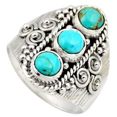 2.71cts blue arizona mohave turquoise 925 sterling silver ring size 8 r2028