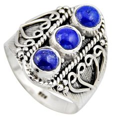 2.71cts natural blue lapis lazuli 925 sterling silver ring size 8.5 r2033