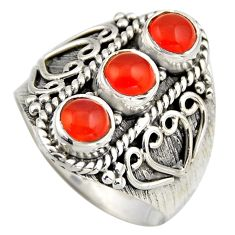 925 silver 2.94cts natural orange cornelian (carnelian) ring size 8.5 r2035