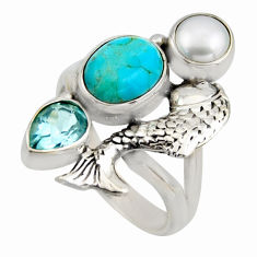 6.80cts blue arizona mohave turquoise topaz 925 silver fish ring size 7.5 r2041