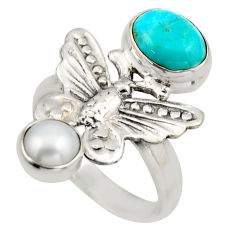 4.38cts blue arizona mohave turquoise 925 silver butterfly ring size 7.5 r2042